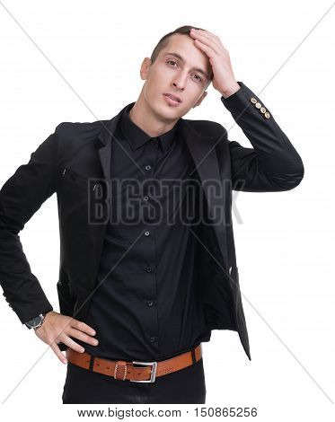 Closeup portrait of sad and depressed man isolated on white studio shot