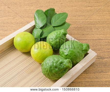 Vegetable and Herb Kaffir Lime with Persian Lime and Kaffir Leaves for Seasoning in Cooking on A Wooden Tray.
