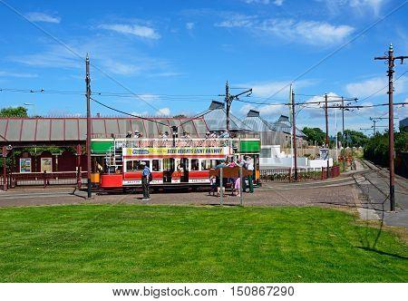 SEATON, UNITED KINGDOM - JULY 18, 2016 -View of a Seaton Electric Tramway Tram outside the tram station Seaton Devon England UK Western Europe, July 18, 2016.