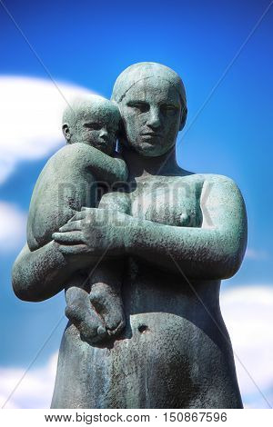 EDITORIAL OSLO NORWAY - AUGUST 18 2016: Sculptures at Vigeland Park in the popular Vigeland park ( Frogner Park ) designed by Gustav Vigeland in Oslo Norway on August 18 2016.