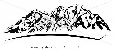 Vector silhouettes of the mountains range isolated on white