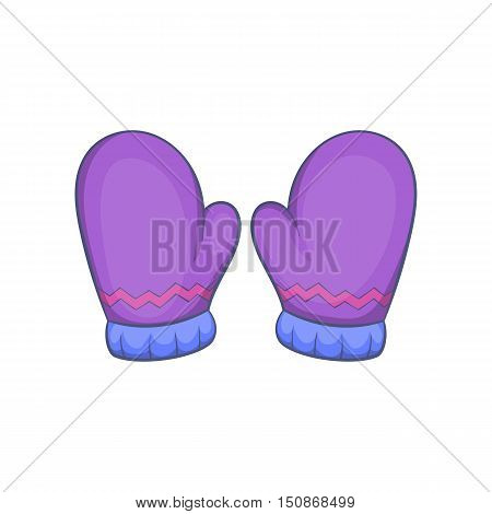 Pair of warm mittens icon in cartoon style isolated on white background vector illustration