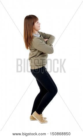 side  view of standing young beautiful  woman. girl  watching. Rear view people collection.  backside view of person.  Isolated over white background. Girl dancing squatting.