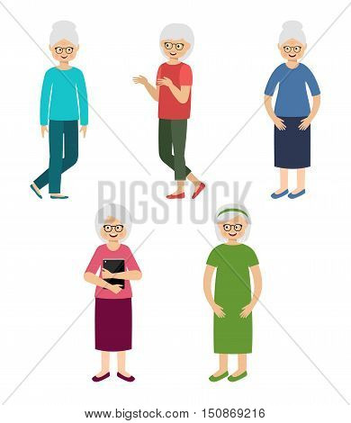 Grandmothers. Elderly women. Pensioners. Vector illustration .