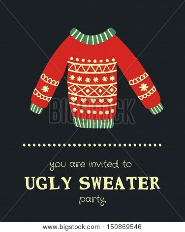 vector illustration of an ugly Christmas sweater on a dark background