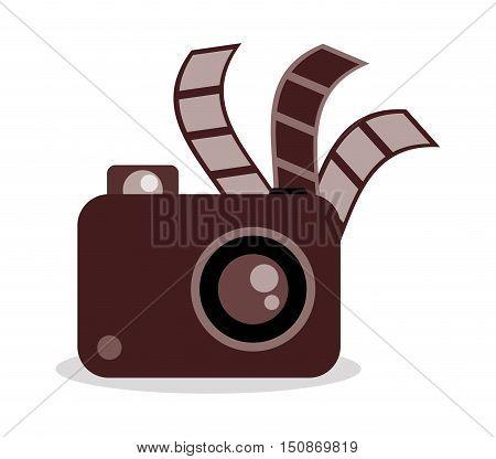 Film strip and camera icon. Cinema movie video and film theme. Vector illustration