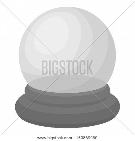 Crystal ball icon in monochrome style isolated on white background.   white magic symbol vector illustration.