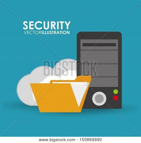File and cloud icon. Security system warning and protection theme. Colorful design. Vector illustration