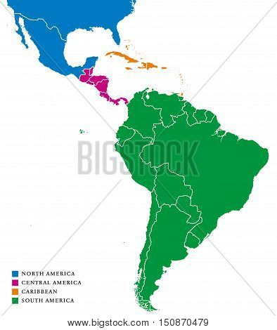 Latin America subregions map. The subregions Caribbean, North, Central and South America in different colors and with national borders of each nation. Illustration on white background.