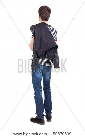 back view of Business man  looks.  Rear view people collection.  backside view of person.  Isolated over white background. The guy put a leather jacket on his shoulder.