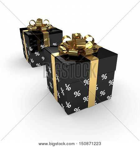3D Rendering Of Two Gift Boxes With Golden Ribbons Isolated Over White