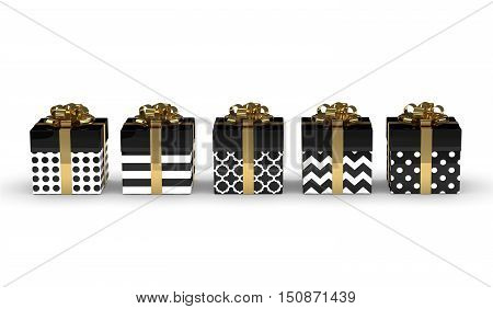 3D Rendering Of Black Gift Boxes With Golden Ribbons Isolated Over White
