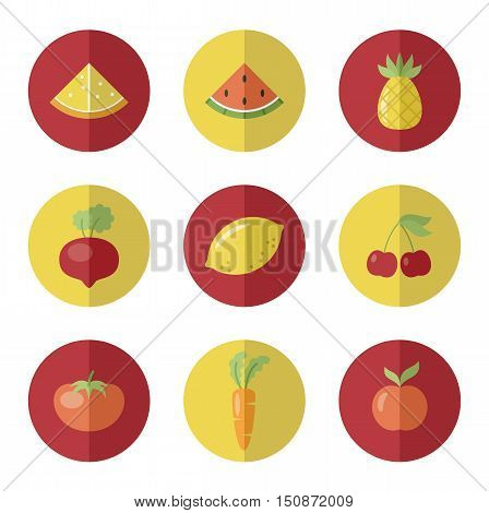 Set of fruit and vegetable icons. Round stickers. Vetor