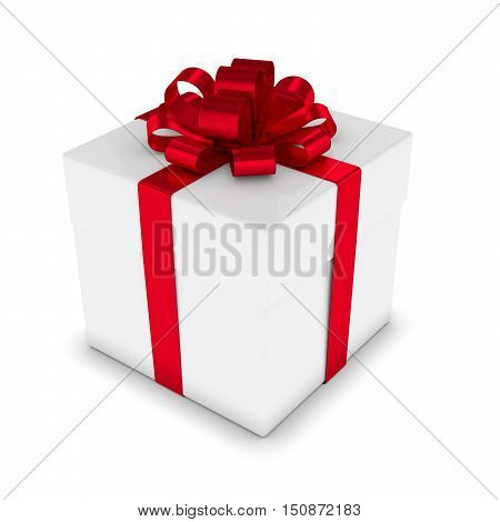 3D Rendering Of White Gift Box With Red Ribbonover White
