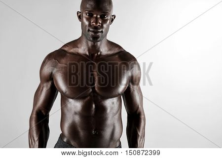 Masculine Young African Male Model Posing Shirtless