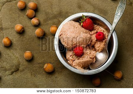 frozen nutella yogurt. style rustic. selective focus