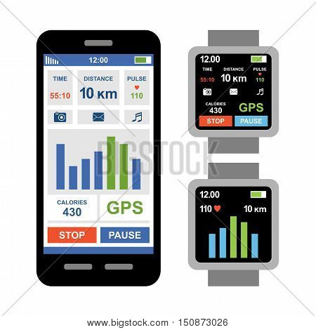 Fitness tracker app for smartwatch and smartphone. Vector
