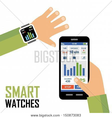 Smartwatch on a wrist. Fitness tracker application. Vector