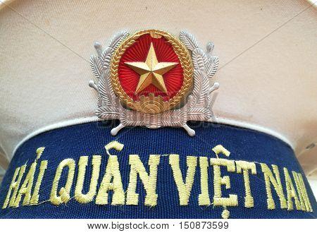 Close up of Vietnam navy hat of a Vietnamese marine uniform