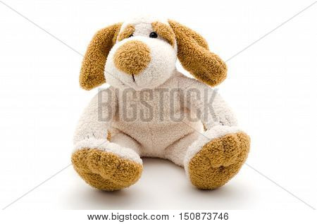Cute dog toy shot on a white background.