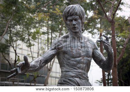 HONG KONG - January 21, 2016: Bruce Lee statue at the Garden of Stars in Hong Kong, China