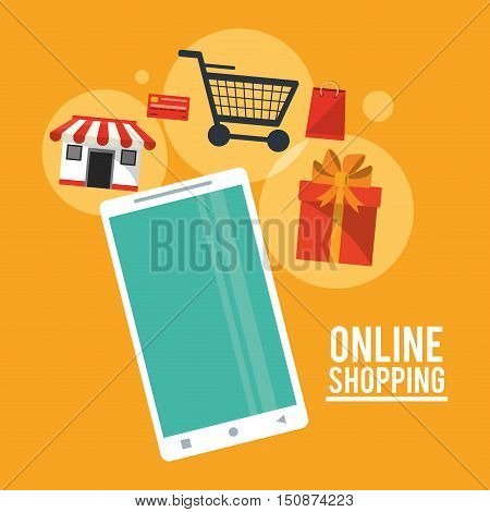 Smartphone cart gift and store icon. Shopping online ecommerce and media theme. Colorful design. Vector illustration