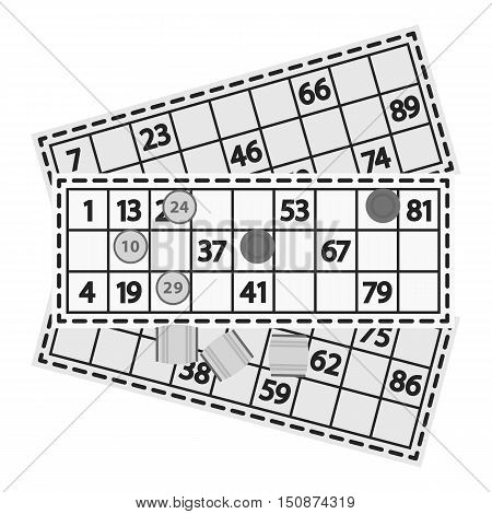 Bingo icon in monochrome style isolated on white background. Board games symbol vector illustration.
