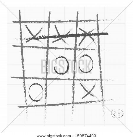 Tic-tac-toe icon in monochrome style isolated on white background. Board games symbol vector illustration.