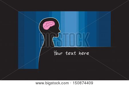 Abstract sillhouette of person with blue colour background. Brain symbol of intelligence. Place for your text