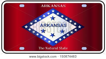 Arkansas state license plate in the colors of the state flag with icons over a white background