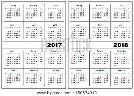 Template of a calendar of white color. A calendar for 2017 and 2018.