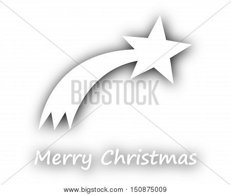 Detailed and accurate illustration of merry Christmas with comet on white