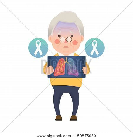 Vector Illustration of Old Man Holding X-ray Image Showing Lung Cancer Problem, White Awareness Ribbon, Cartoon Character
