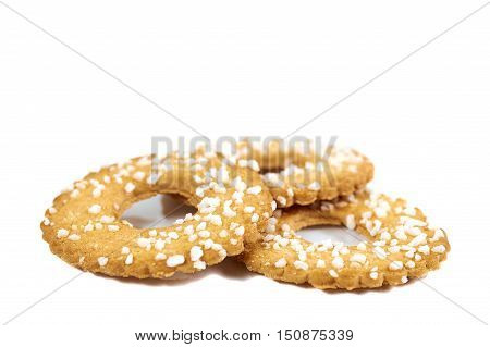 Cookies With Sugar Topping Over White Background