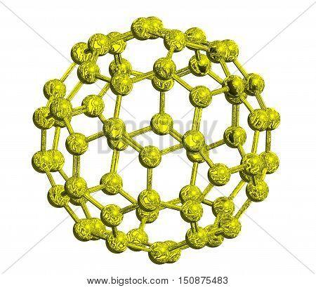 Molecular structure of fullerene (metallic) - carbon atoms in form of hollow sphere 3D rendering