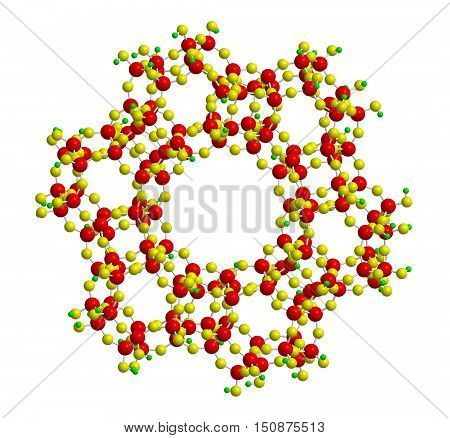 Molecular structure of zeolite - microporous aluminosilicate mineral 3D rendering
