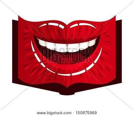 open book woman mouth with red makeup glossy lips and heart on tongue. Vector illustration.