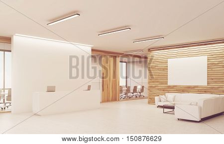 Side View Of Sunlit Reception Desk And Sofas, Wooden Walls