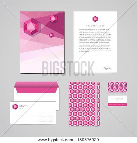 Corporate identity design template. Documentation for business. Geometric pink-purple abstract design. Perfect for your business.