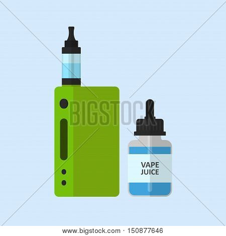Vape device and e-liquid flavor vector set isolated from the background. Accessories for vaping in colored flat style. Symbols electronic cigarettes