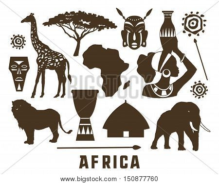 Africa elements and icons set. Vector illustration, EPS 10