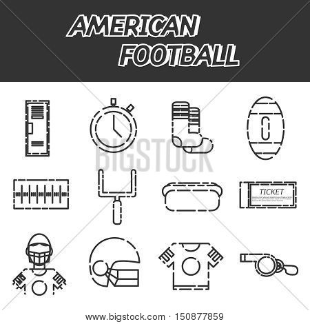 American football icons set. Helmet and sport, touchdown and quarterback, trophy game. Vector illustration