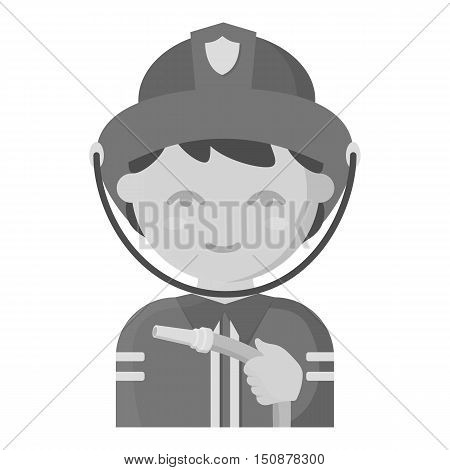 Fireman icon monochrome style. Single silhouette fire equipment icon from the big fire Department monochrome.