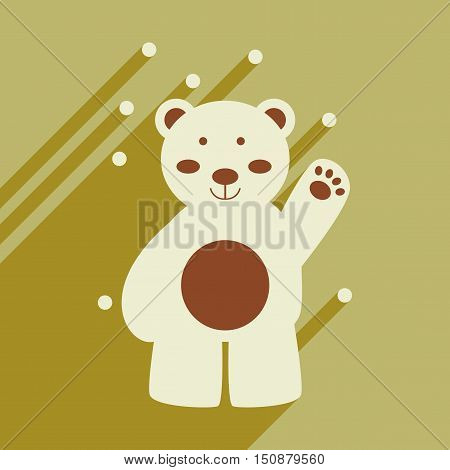 flat icon with long shadow northern bear