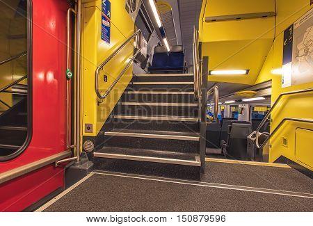 Zurich, Switzerland - 9 October, 2016: interior of a Swiss Federal Railways passenger train. Swiss Federal Railways is the national railway company of Switzerland.