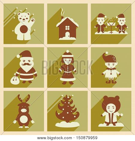 Set of flat icons with long shadow new Year