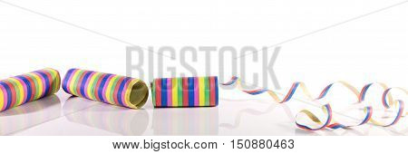 Colorful Streamers In Front Of White