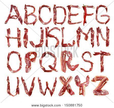 Collection meat alphabet. Fresh Meat alphabet. Bacon alphabet. Litter. Bacon litter.