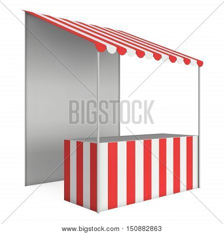 Market stand kiosk stall with striped awning for promotion sale. Shopping cart. Business store showcase and kiosk marketplace mobile. 3D render illustration isolated on white.