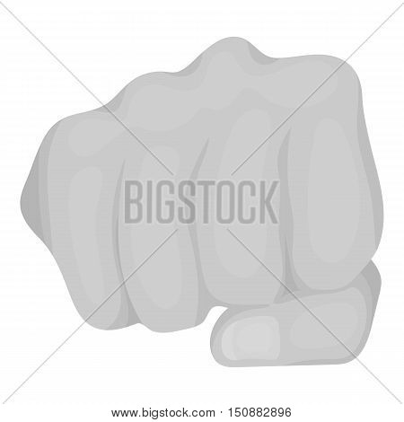 Fist bump icon in monochrome style isolated on white background. Hand gestures symbol vector illustration.